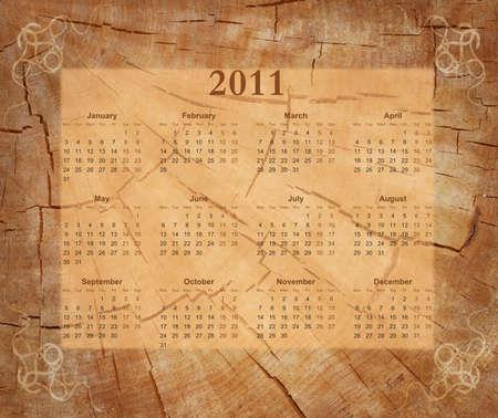 Wooden calendar 2011  Stock Photo