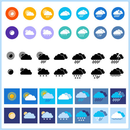 Weather icons. Three sets in material design style. EPS-8