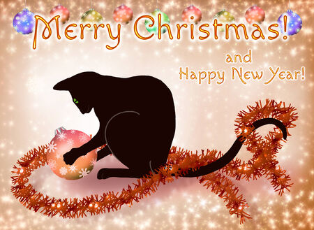 Christmas and New Year card with a black cat playing with a ball photo