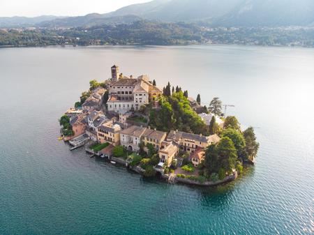 San Giulio Island / Isola San Giulio by drone Banco de Imagens