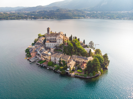San Giulio Island / Isola San Giulio by drone