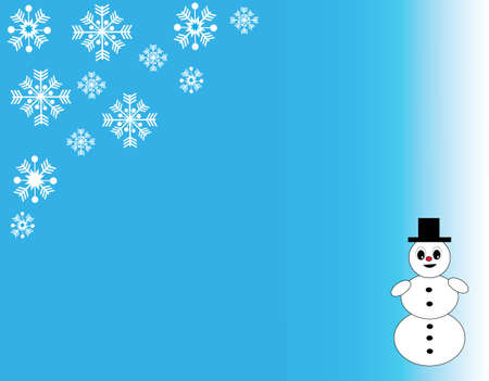 blu: Christmas snowflakes and snowman on the blu- white background. Vector Illustration.