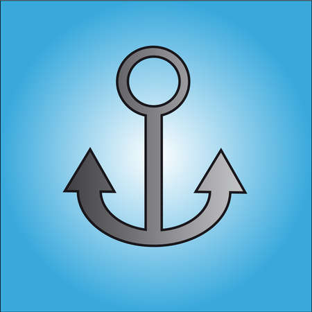 Grey anchor on blue backgraund. Vector illustration.