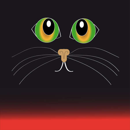 Green- yellow cat eyes on black - red  background.Vector illustration Illustration