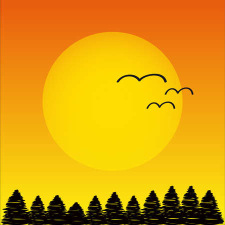 Orange sunset with trees and birds.Vector illustration.