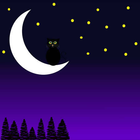holidays for couples: Black cat sitting on the moon on blue- purple background. Vector illustration.
