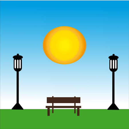 Bench with lamp at day with sun. Vector Illustration.