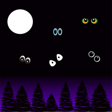 Eyes in the night on black - purple background with moon and trees. Vector Illustration Illustration