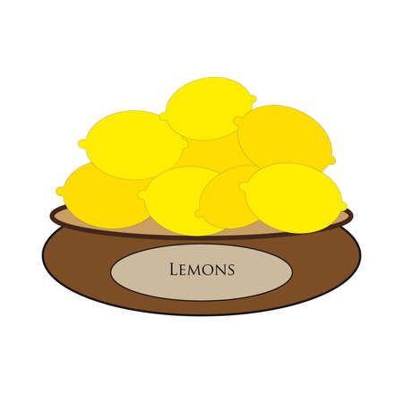 simple cross section: Brown bowl with yellow lemons on white background. Vector Illustration.