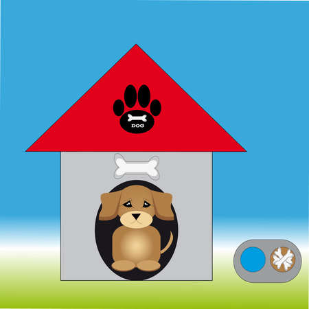 Doghouse with puppy and dog bowl on background. Vector illustration.