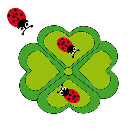 antennae: Ladybugs and cloverleaf on white background. Vector illustration.
