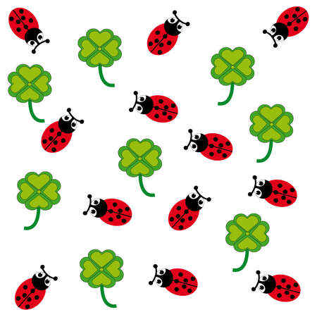 Ladybugs and cloverleafs on white background. Vector illustration.