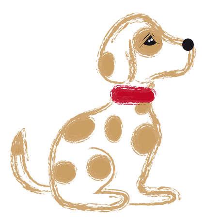 Sitting dog on white background. Vector illustration.