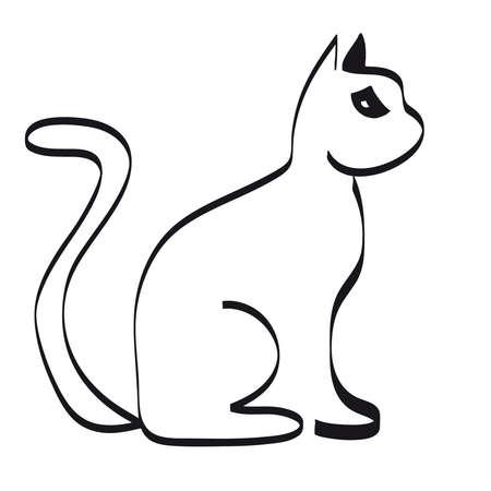 on white: Black cat silhouette on white background. Vector illustration. Illustration