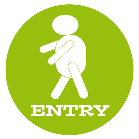 Entry symbol with  man in green ring. Vector illustration.