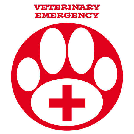 vet: Red vet symbol on white background. Vector illustration.