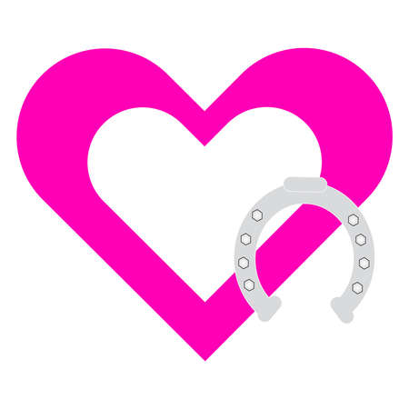 iron horse: Pink heart with horse shoe on white background. Vector illustration. Illustration