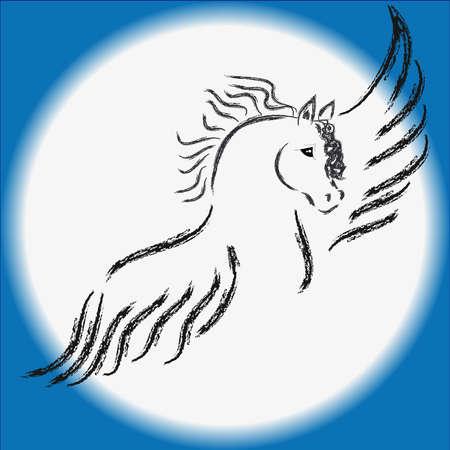 Flying pegasus on sky. Vector illustration.