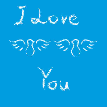 Doves with text i love you on blue background. Vector illustration. Illustration