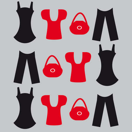 Clothes on grey background. vector illustration.