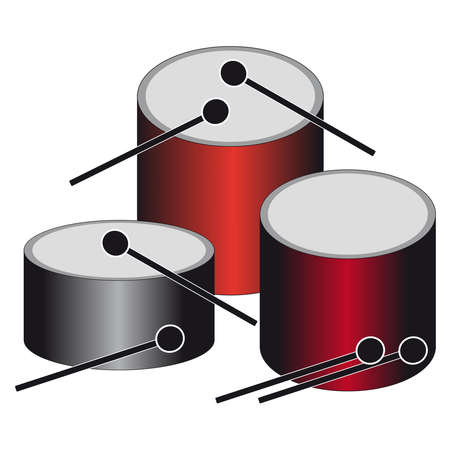 Drums on white background. Vector illustration.