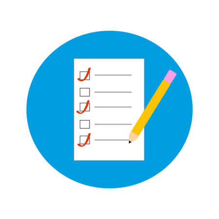 Documents in blue ring on white background. Vector illustration.