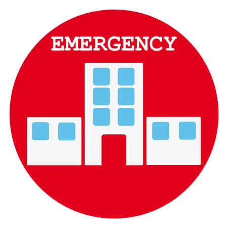 response time: Hospital symbol in red ring on white background. Vector illustration Illustration