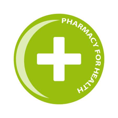 green cross: Pharmacy symbol in ring on white background. Vector illustration Illustration