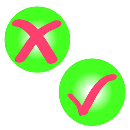 agrees: Checking icon in green ring on white background. Vector illustration.