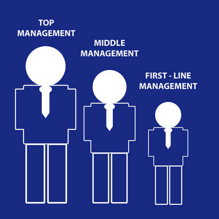 jerarquia: Hierarchy of management on blue background. Vector illustration.
