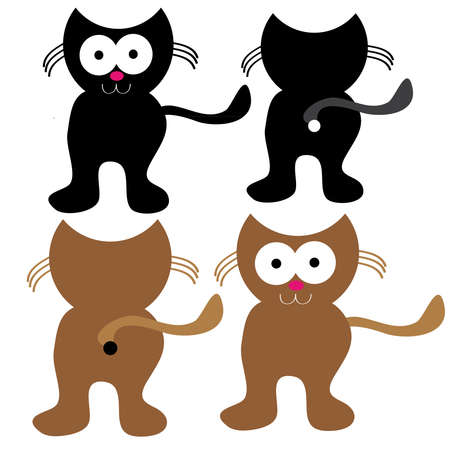 Cats on white background. Vector illustration.