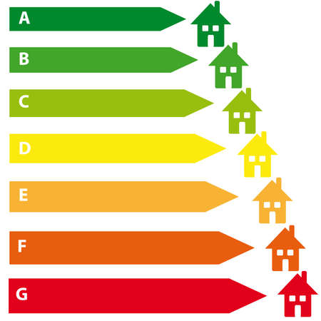 alumnos en clase: Energy labels with home on white background. Vector illustration
