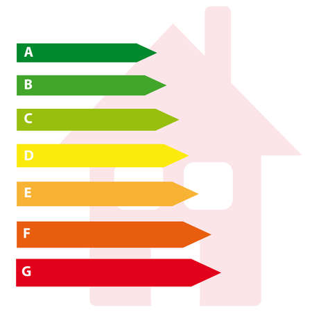 Energy labels with home on white background. Vector illustration