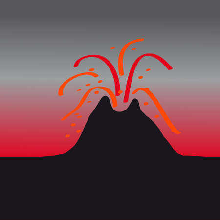 Volcano on dark illustration. Illustration