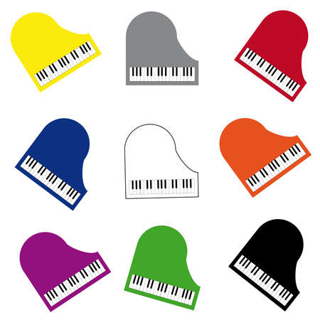 octave: Color piano on white background. Vector illustration.