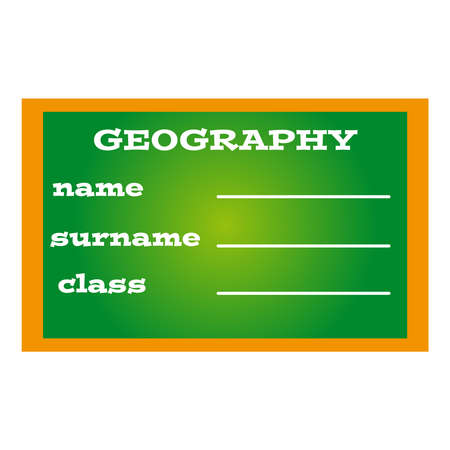 geography: Label book geography on green background.Vector illustration.