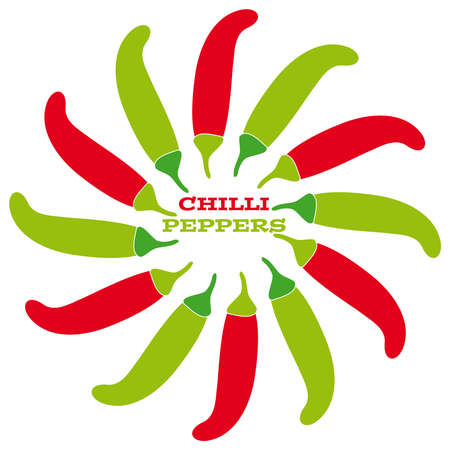 Chilli peppers on white background.Vector illustration. Illustration