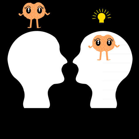 black man thinking: Head with brain on black background. Vector illustration.