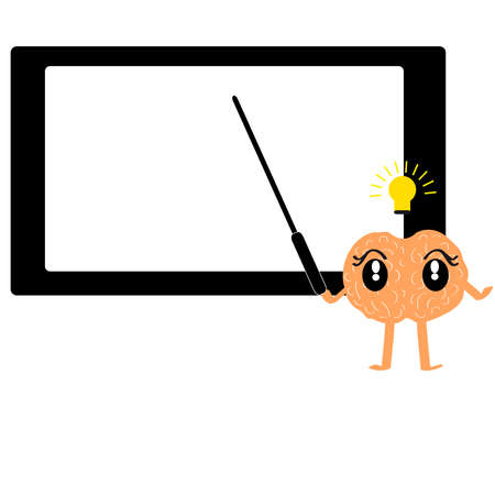 Brain with board on white background. Vector illustration.