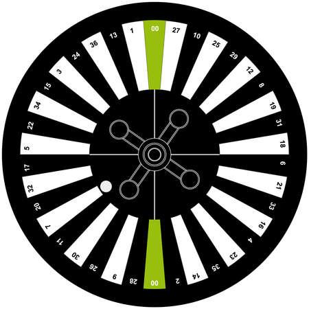 American roulette on white background. Vector illustration. Illustration