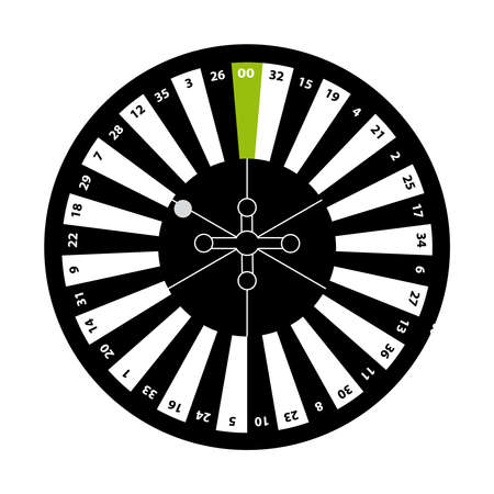 European roulette on white background. Vector illustration.
