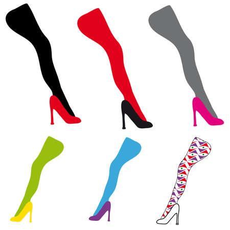 Women shoes and leg on white background. Vector illustration. Illustration