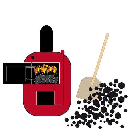 Red coal boiler on white background. Vector illustration. Illustration