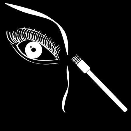 Eye with brush on black background. Vector illustration.