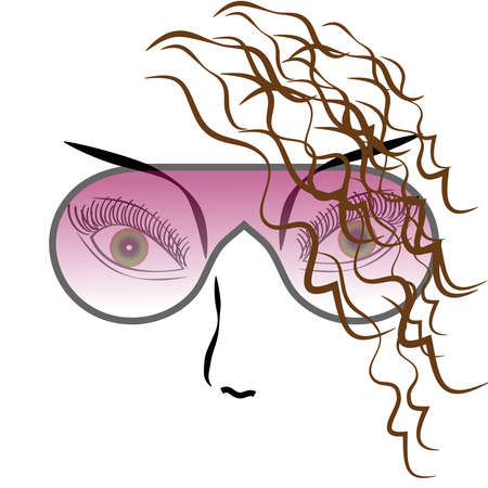 Eyes with sun glasses on white background. Vector illustration.