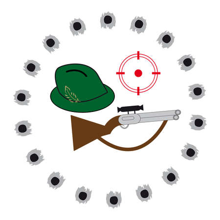 sniper training: Gun with hat on white background. Vector illustration. Illustration