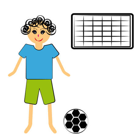 Boy with ball on white background. Vector illustration.