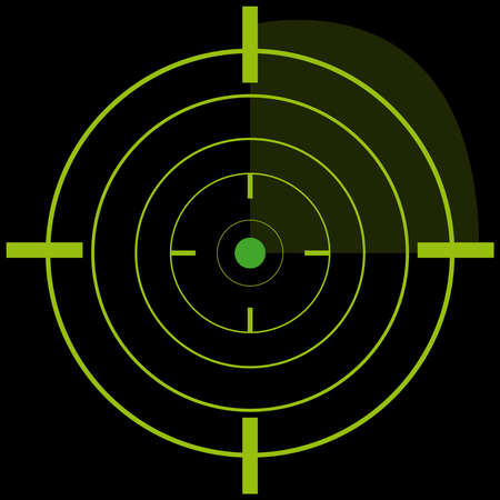 Radar on black background. Vector illustration.