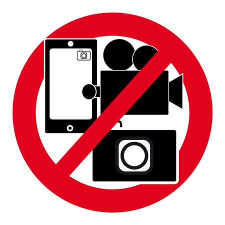 白い背景のカメラ記号はありません。ベクトルの図。