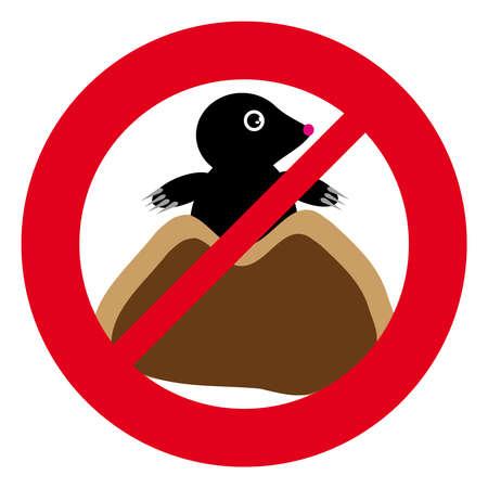 lair: No mole symbol on white background. Vector illustration.